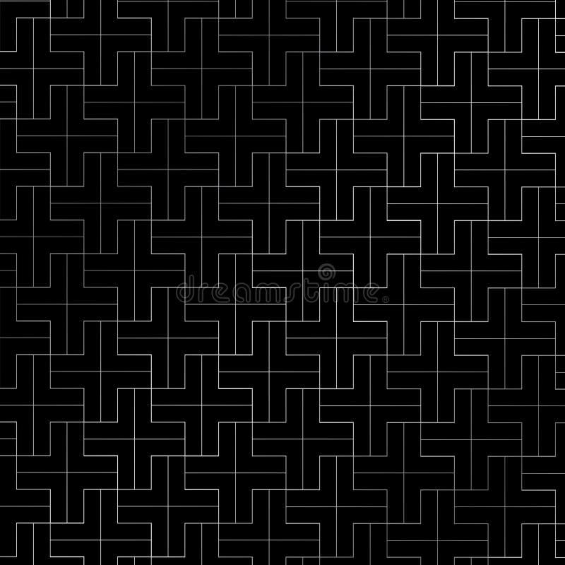Абстрактное повторение плюс цвет картины серебряный геометрический на черноте иллюстрация вектора