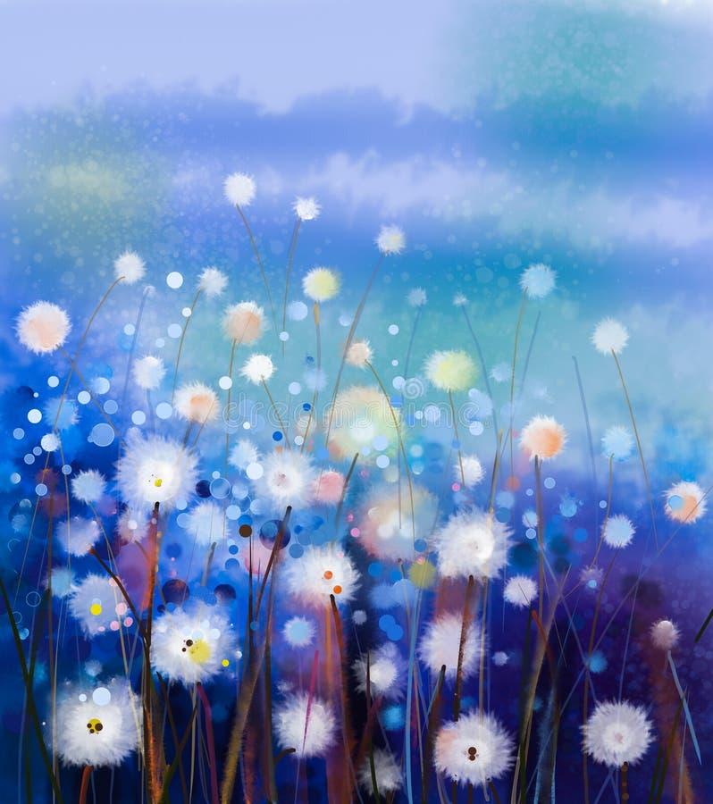 Абстрактное поле белых цветков картины маслом в мягком цвете иллюстрация штока