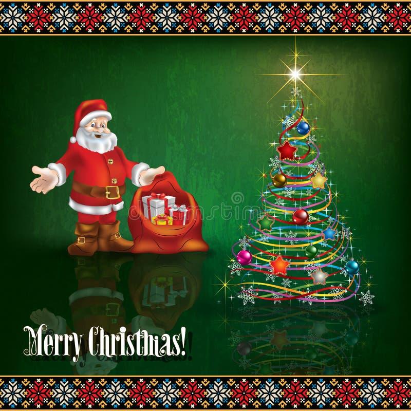 Абстрактное приветствие торжества с декором рождества иллюстрация вектора