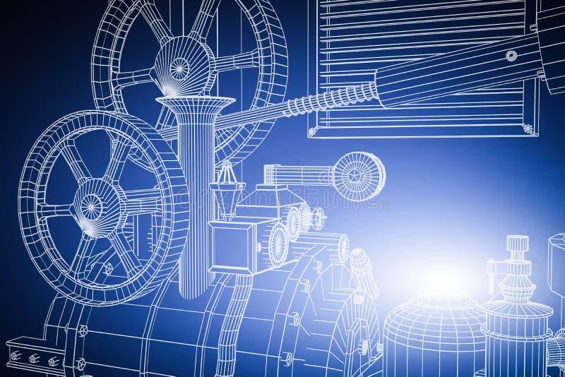 Абстрактное промышленное, предпосылка технологии Планы шестерней иллюстрация вектора