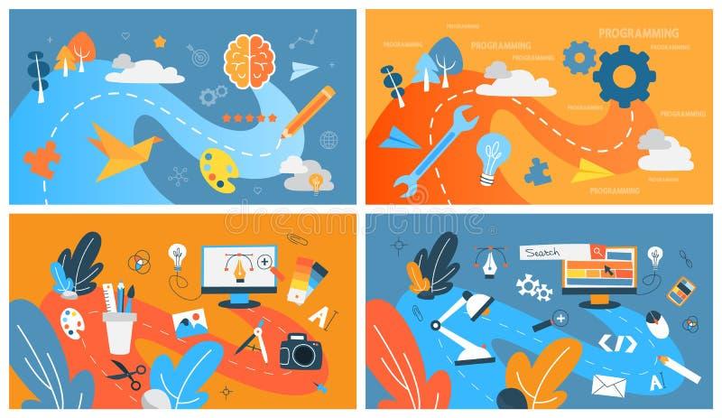 Абстрактное развитие сети установленное с графическим дизайном бесплатная иллюстрация