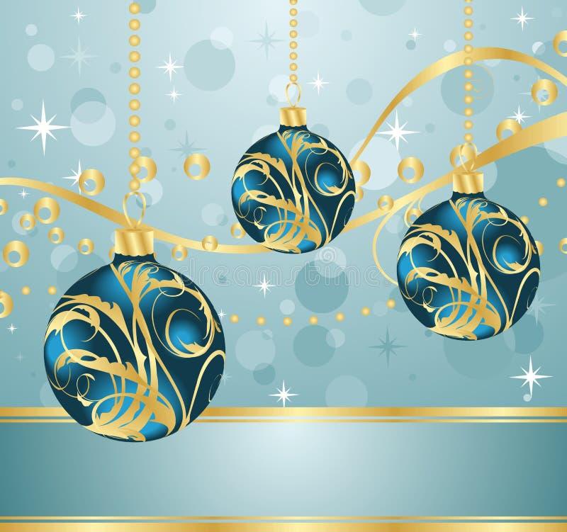 абстрактное рождество сини шариков предпосылки иллюстрация штока