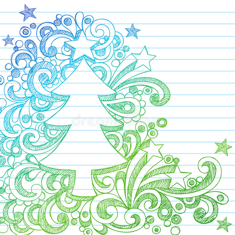 абстрактное рождество doodles вал тетради схематичный иллюстрация штока
