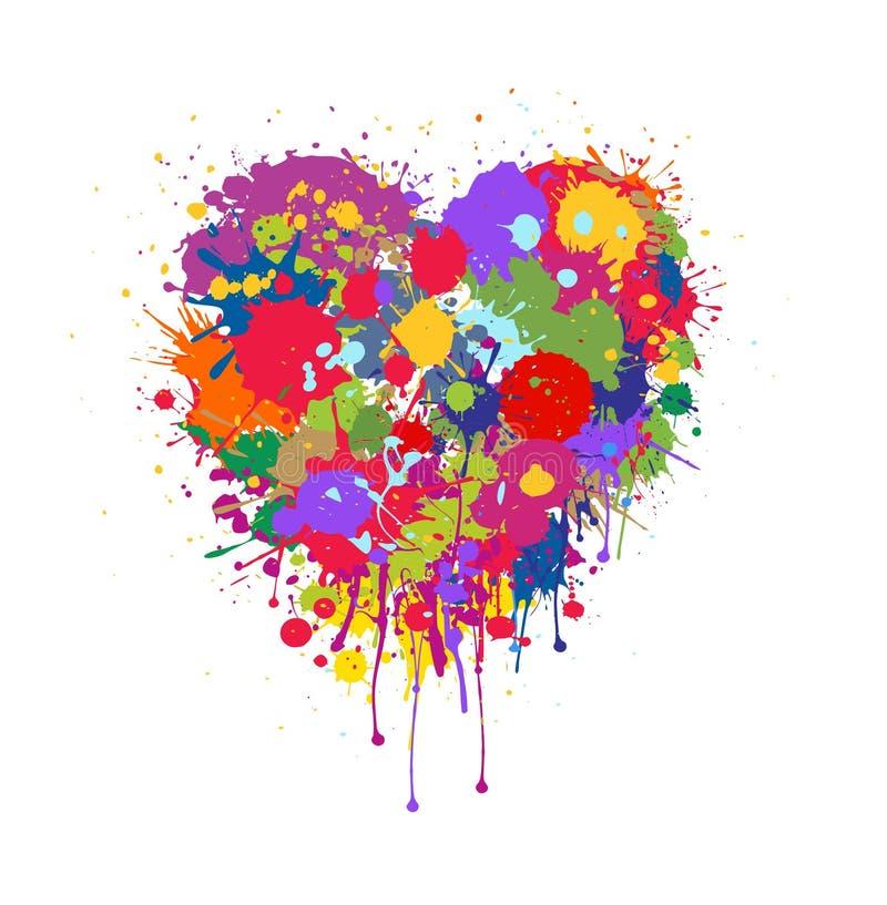 Абстрактное сердце вектора сделанное красочного брызгает краски иллюстрация штока