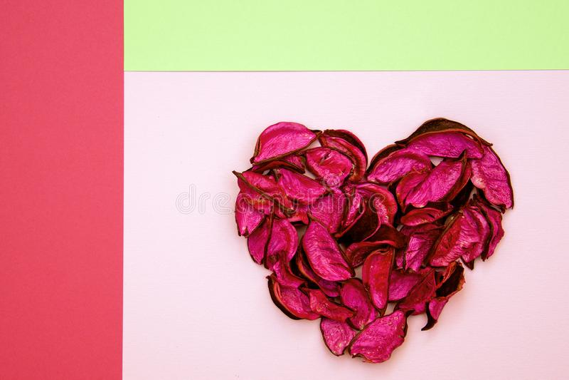 Абстрактное сердце сделанное из высушенных лепестков на красочной геометрической предпосылке стоковое изображение rf