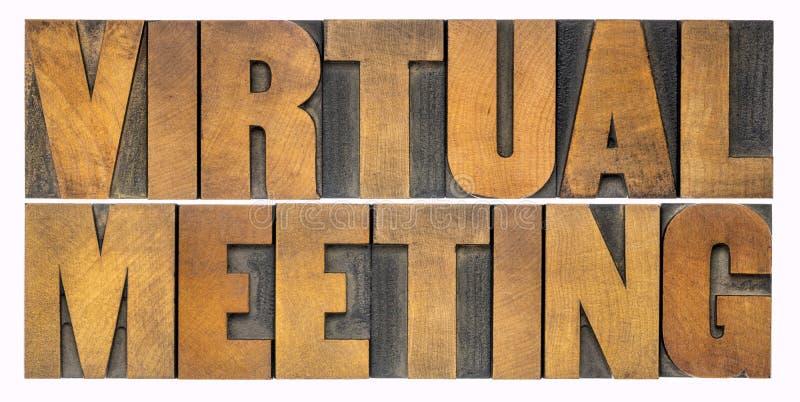 Абстрактное слово виртуального собрания в виде дерева стоковая фотография rf