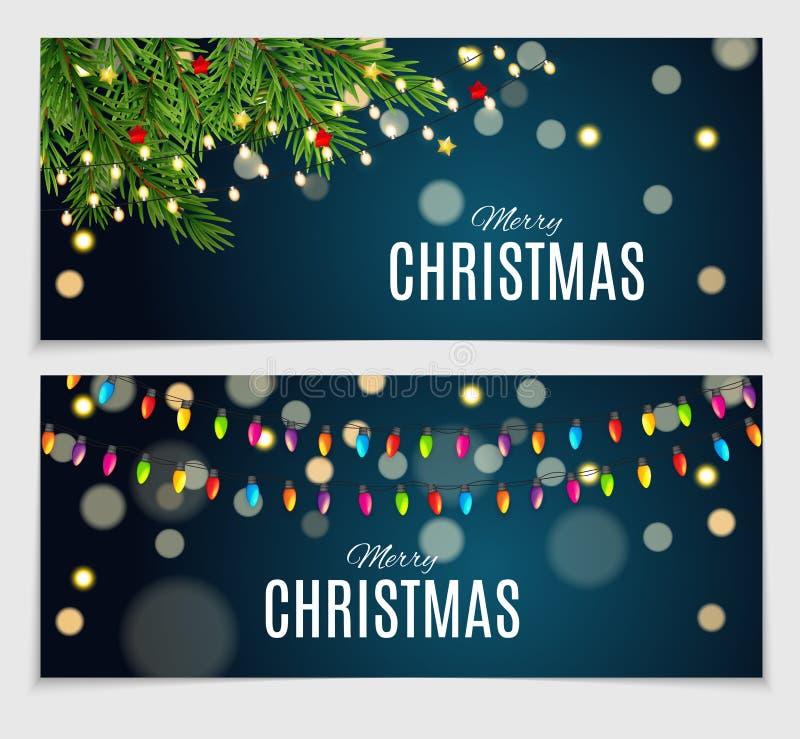Абстрактное собрание карты рождества и Нового Года красоты установило иллюстрацию вектора иллюстрация штока