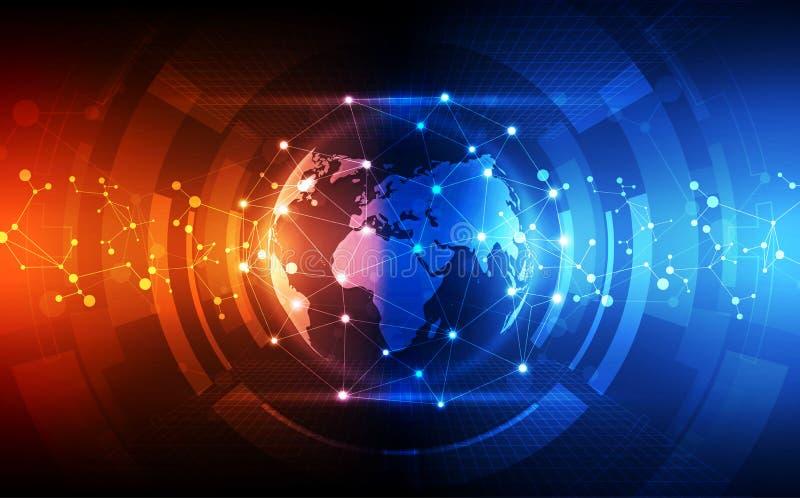 Абстрактное соединение цифровой технологии на предпосылке концепции земли, иллюстрации вектора иллюстрация штока