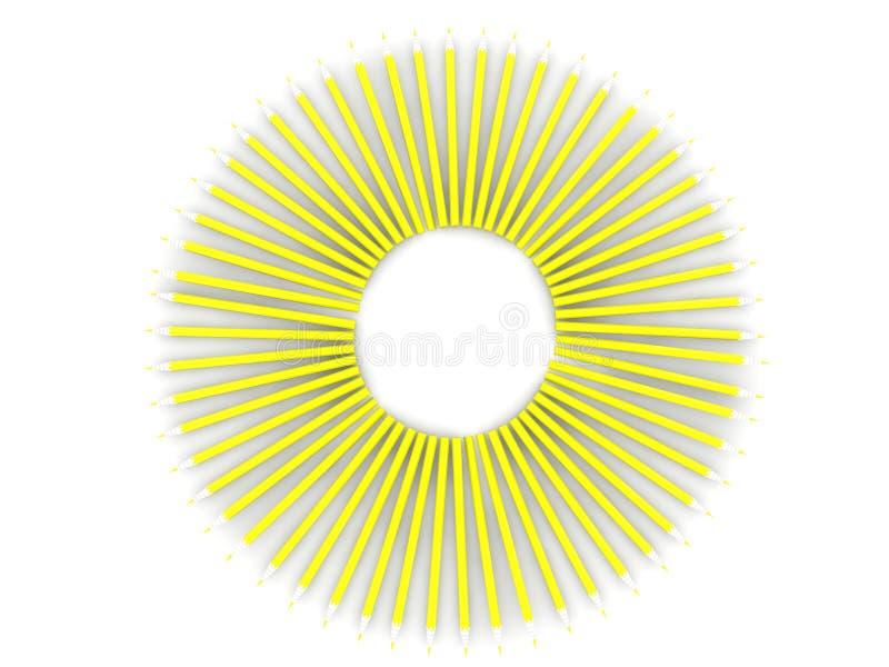 Абстрактное солнце карандашей на белизне иллюстрация штока