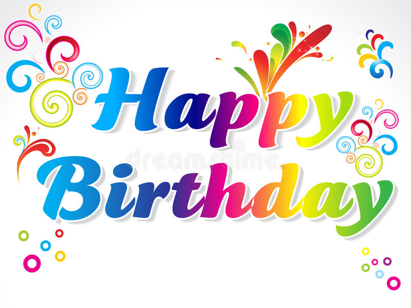 абстрактное счастливое поздравительой открытки ко дню рождения цветастое бесплатная иллюстрация