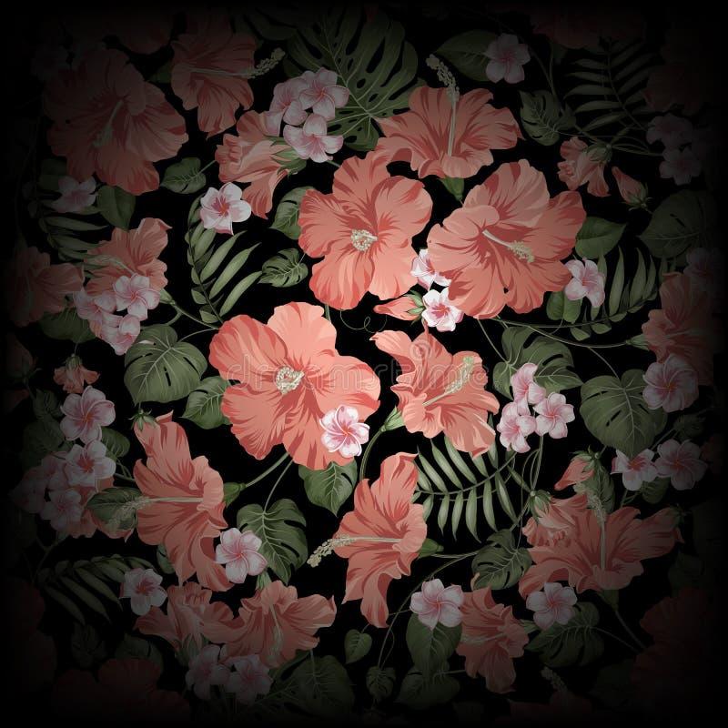 Абстрактное тропическое изображение цветка Тропические листья plumeria и ладони Затеняемые цветки рая на черной предпосылке бесплатная иллюстрация