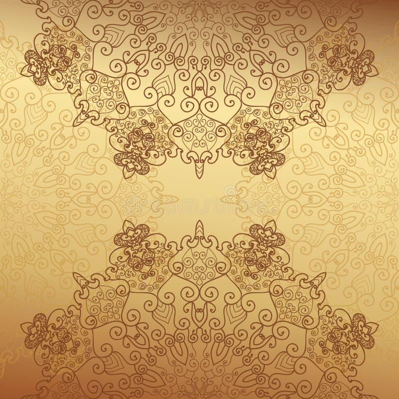 Абстрактное украшение шнурка, предпосылка золота стоковое фото