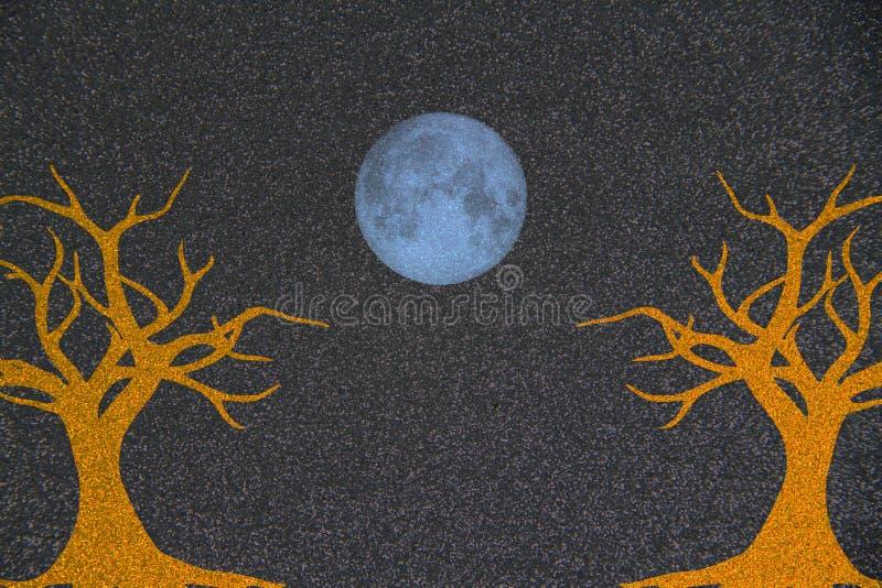 Абстрактное фоновое изображение падения деревьев с голубой луной иллюстрация штока