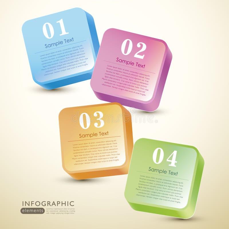 Абстрактное цветастое infographics коробки 3d бесплатная иллюстрация