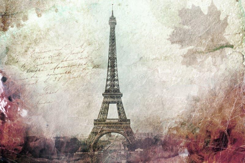 Абстрактное цифровое искусство Эйфелева башни в Париже, зеленое старая бумага Открытка, высокое разрешение, printable на холсте иллюстрация штока
