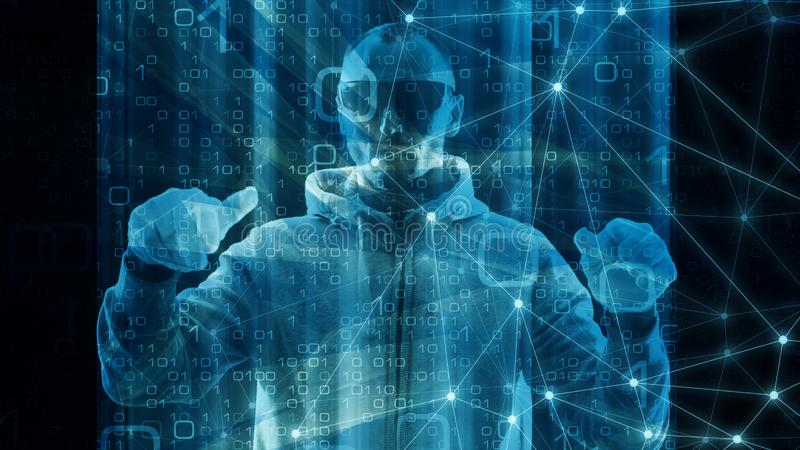 Абстрактное цифровое нововведение науки в предпосылке абстракции космоса кибер, концепции виртуального пространства иллюстрация штока
