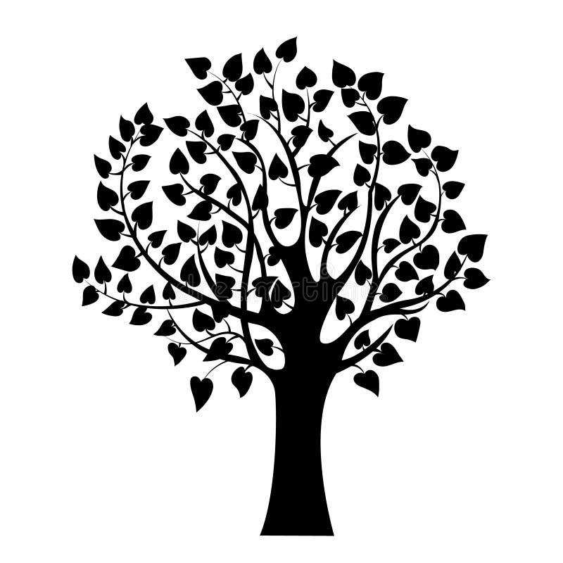 Абстрактное черное дерево, изолированный символ природы, знак силуэта иллюстрация штока