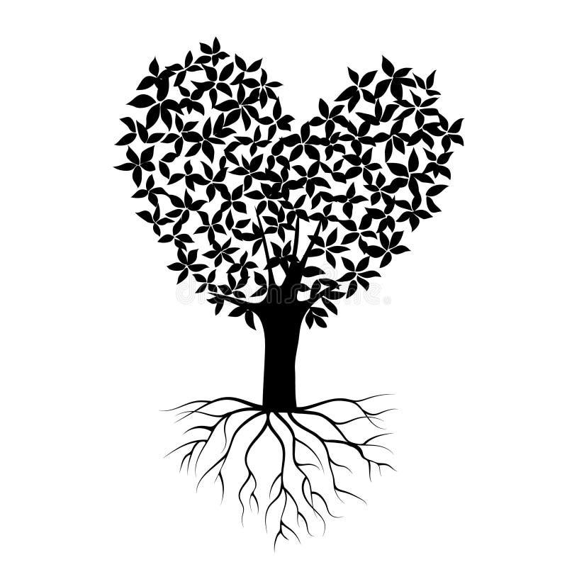 Абстрактное черное дерево сердца, символ природы, силуэт si бесплатная иллюстрация