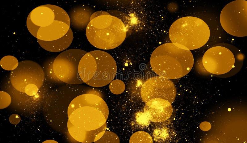 Абстрактное bokeh золота для предпосылки Яркие блески освещают верхние слои текстуры с частицами сверкнают иллюстрация штока