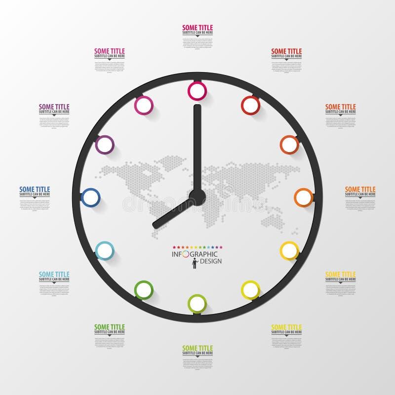 Абстрактное 3D цифровое дело Infographic Часы бесплатная иллюстрация