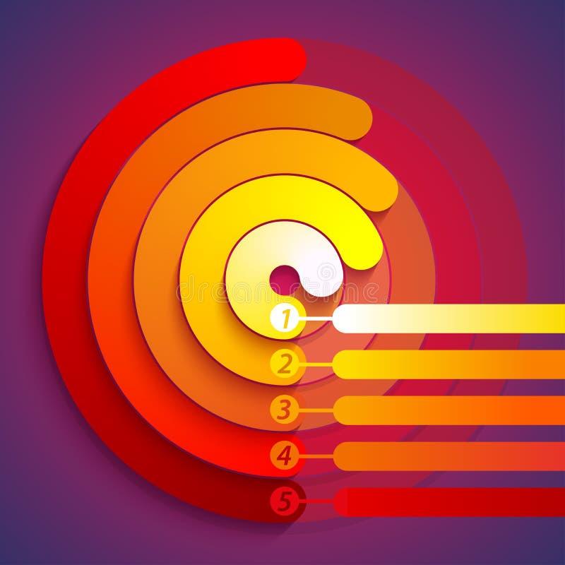 Абстрактное infographic 3d красного цвета, оранжевых и желтых иллюстрация вектора