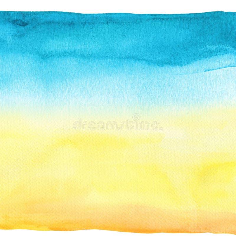 абстрактной акварель предпосылки голубой покрашенная рукой текстурированная бумага стоковая фотография rf