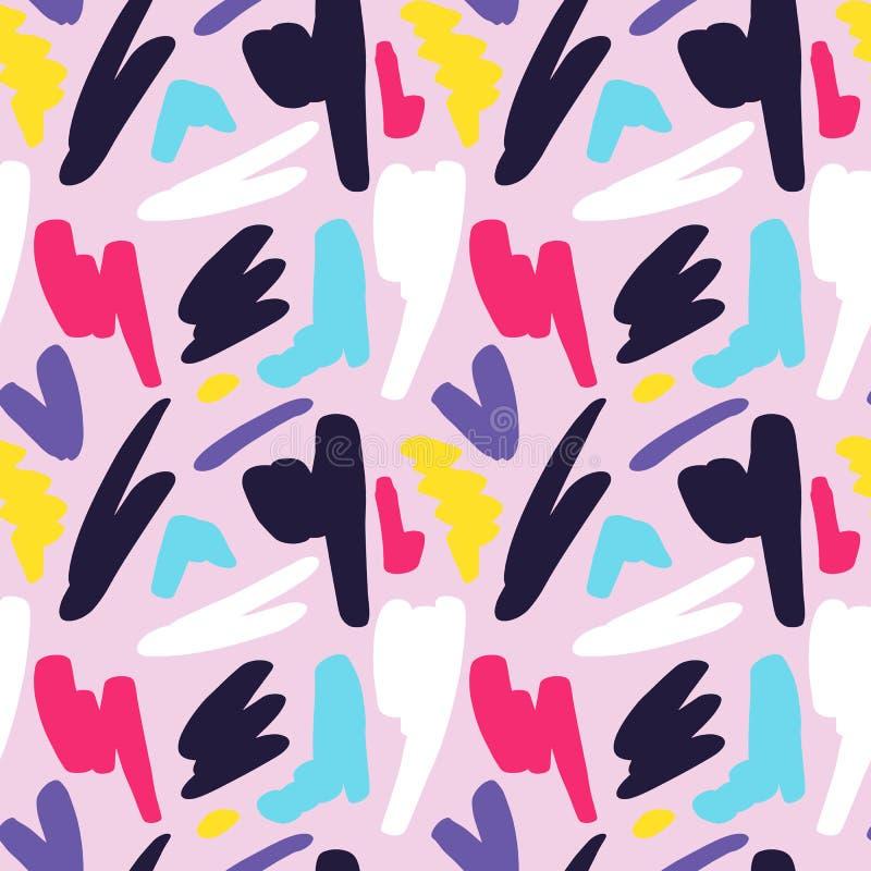 Абстрактной геометрической безшовной картина нарисованная рукой текстура grunge самомоднейшая Multicolor предпосылка покрашенная  иллюстрация штока