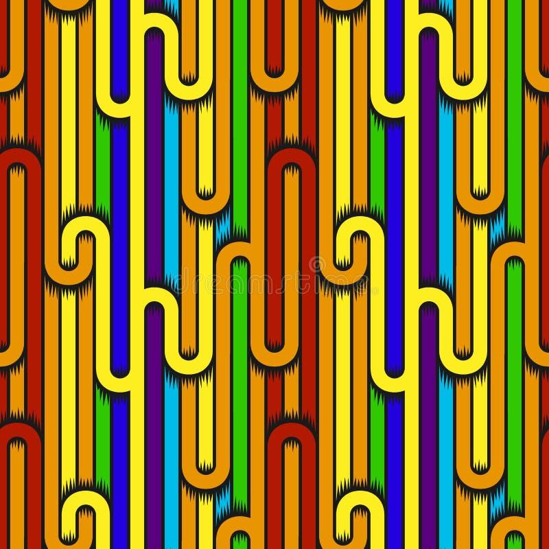 Абстрактной картина обнажанная геометрией безшовная с кривыми вектор иллюстрация штока