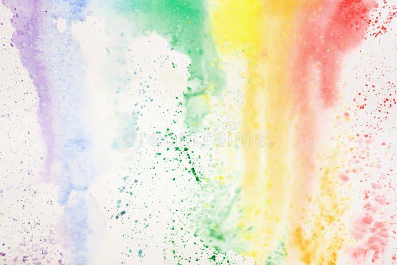 Абстрактной красочной изображение акварели нарисованное рукой, для предпосылки выплеска, красочные тени на белизне Пятно покрашен бесплатная иллюстрация
