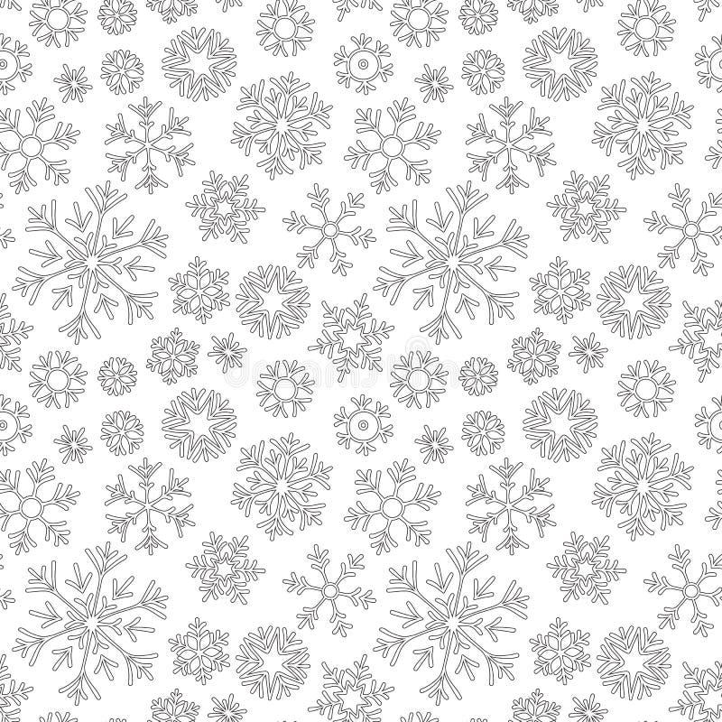 Абстрактной нарисованная рукой картина плана безшовная с предпосылкой белизны снежинок  иллюстрация вектора