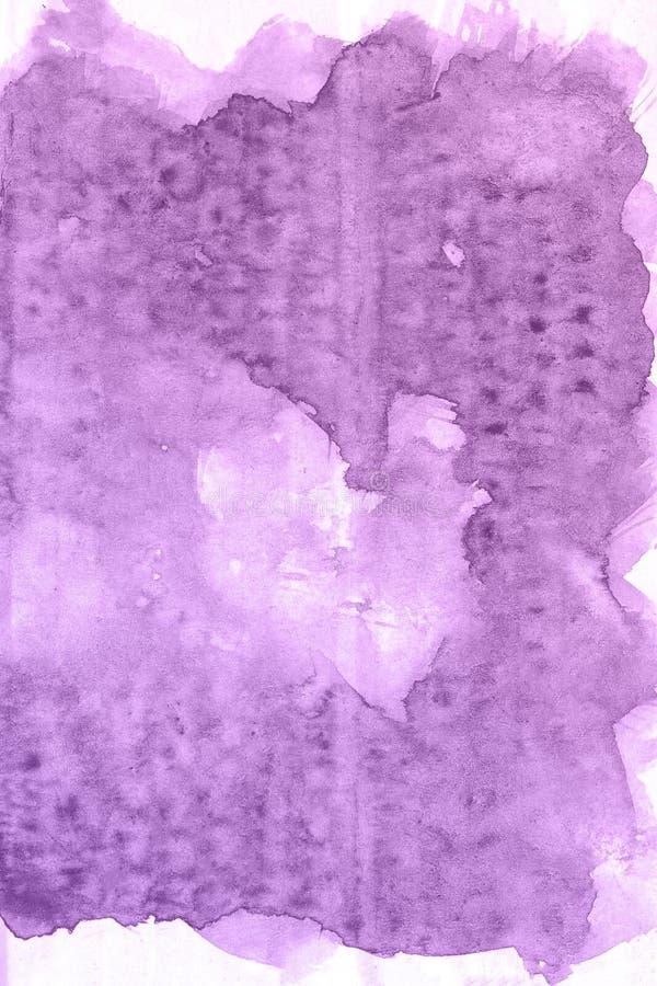 Абстрактной нарисованная рукой фиолетовая предпосылка акварели, иллюстрация растра иллюстрация вектора