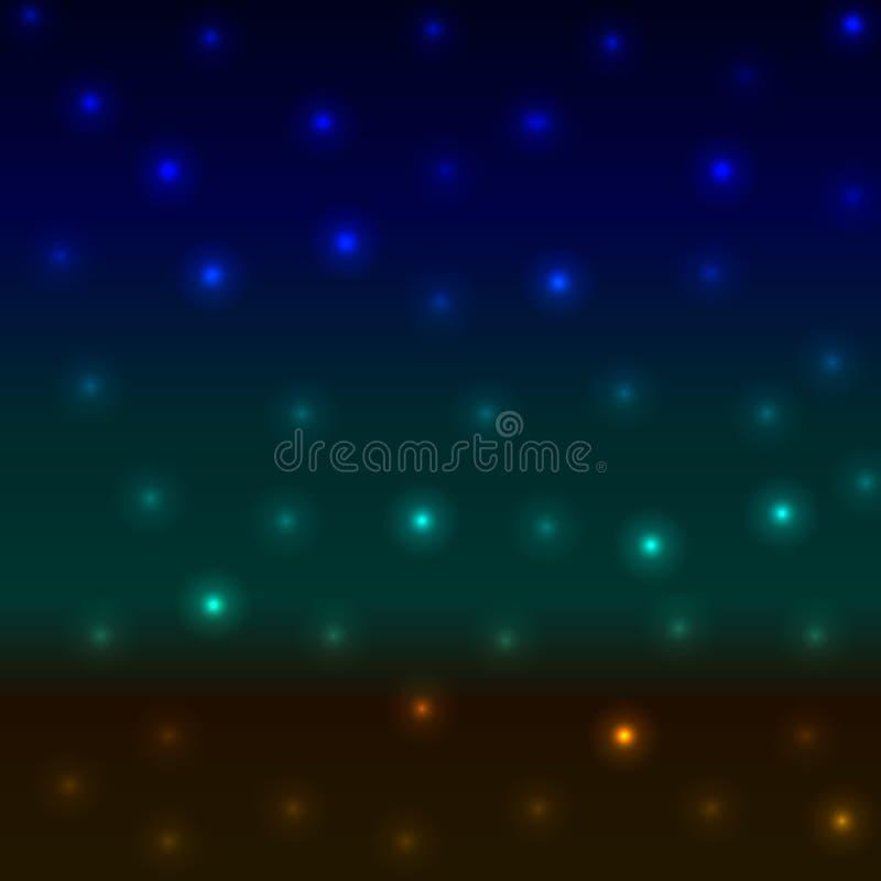Абстрактной острословие берега моря ландшафта ночи вектора запачканное предпосылкой иллюстрация вектора