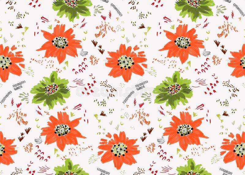 Абстрактные апельсин весны и цветки и семена зеленого цвета иллюстрация вектора