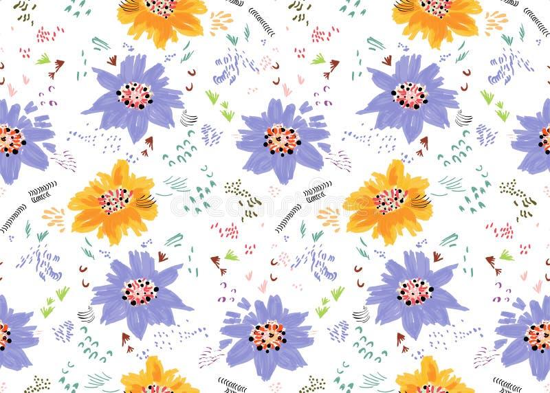 Абстрактные апельсин весны и цветки и семена пурпура бесплатная иллюстрация