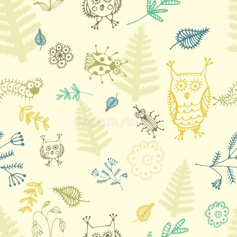 Абстрактные безшовные предпосылка, цветки, птицы и насекомые бесплатная иллюстрация