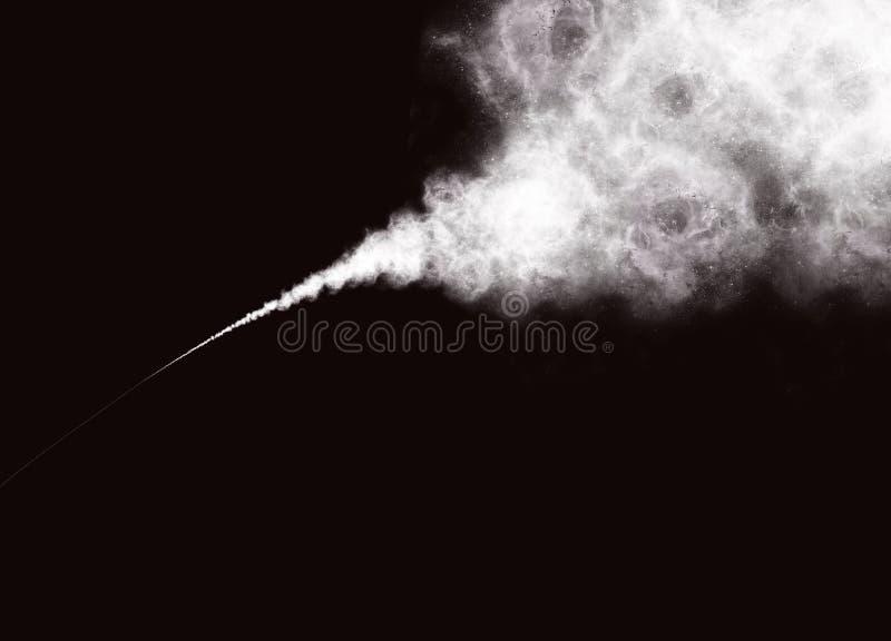 Абстрактные белые дым или порошок на черной предпосылке иллюстрация вектора