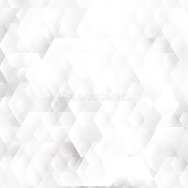Абстрактные белые и серые геометрические формы шестиугольников перекрывая предпосылку иллюстрация штока