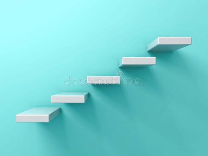 Абстрактные белые лестницы или концепция дела 5 шагов на голубой зеленой предпосылке стены пастельного цвета бесплатная иллюстрация