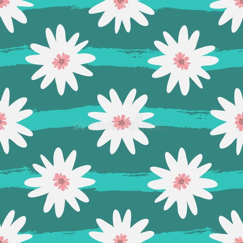 Абстрактные белые цветки на striped предпосылке бирюзы Grunge, эскиз, watercolour бесплатная иллюстрация