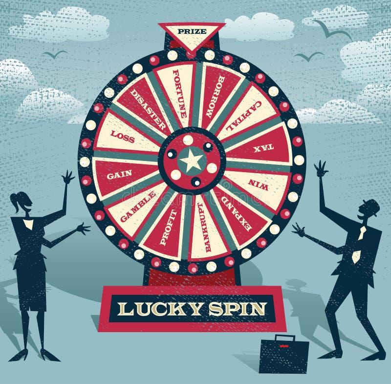 Абстрактные бизнесмены с финансовым колесом фортуны иллюстрация вектора