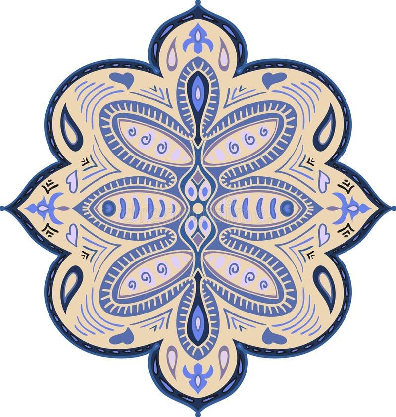 Абстрактные богато украшенные элементы Декоративная картина для ткани, ткани, плаката, карт, крышек, сети цветастый орнамент Инде иллюстрация вектора