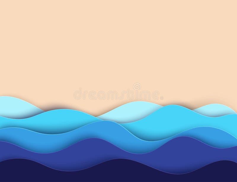 Абстрактные бумажные волны и пляж воды моря или океана искусства Лето иллюстрация штока