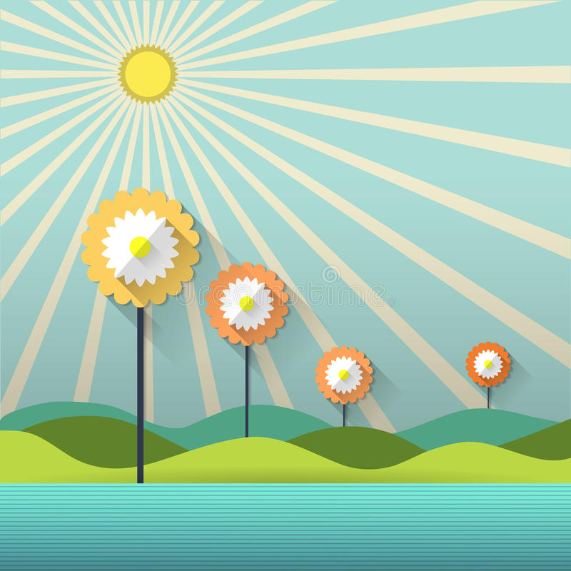 Абстрактные бумажные цветки и солнечность весны иллюстрация вектора