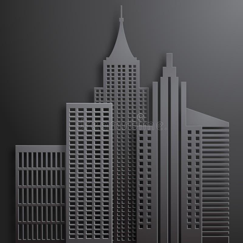 Абстрактные бумажные черные небоскребы 3D иллюстрация вектора