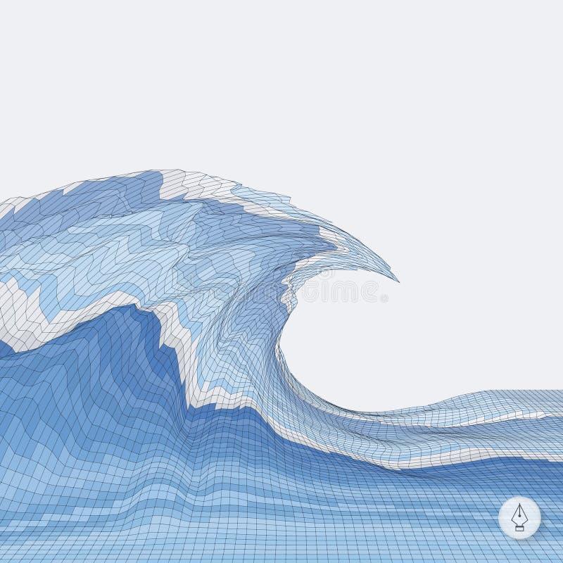 абстрактные волны предпосылки мозаика вектор 3d иллюстрация штока