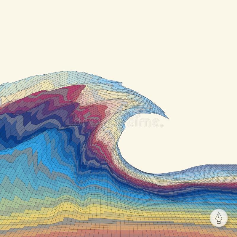 абстрактные волны предпосылки мозаика иллюстрация 3d стоковая фотография