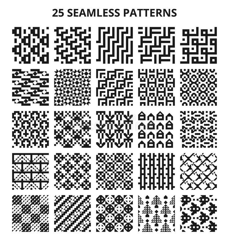 Абстрактные геометрические безшовные черно-белые картины вектора 25 повторяя ретро текстур иллюстрация штока