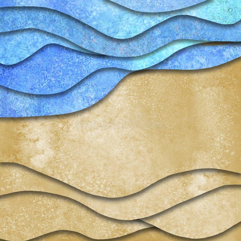 Абстрактные геометрические волны моря акварели лета и предпосылка пляжа песка иллюстрация штока
