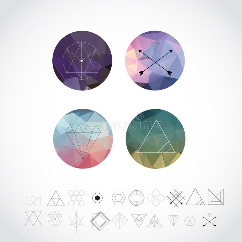 Абстрактные геометрические картины установленные с значками стиля битника для дизайна логотипа Линия ретро знаки для логотипов и  бесплатная иллюстрация