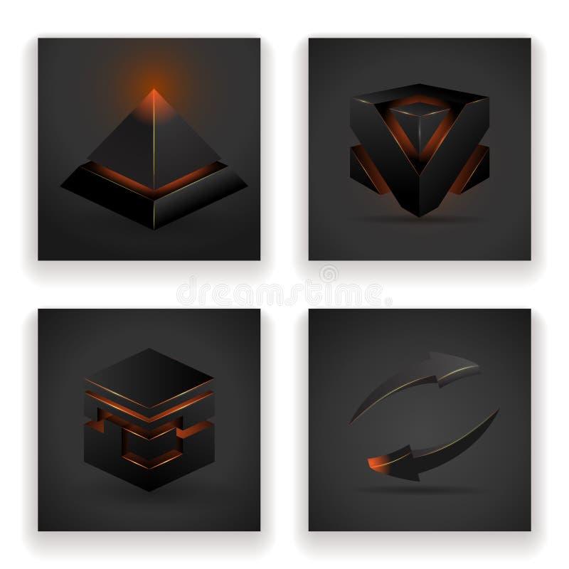 Абстрактные геометрические накаляя диаграммы иллюстрация вектора дизайна стрелки квадратной пирамиды установленная иллюстрация вектора